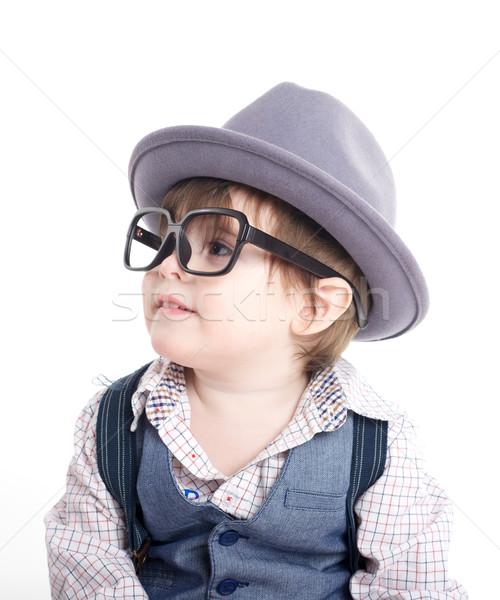 Cute Smart ребенка Kid Hat очки Сток-фото © tangducminh