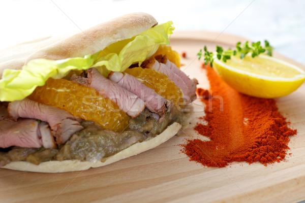 カモ 乳がん ケバブ サンドイッチ 木板 表 ストックフォト © tangducminh