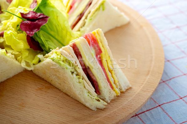 Törökország klub szendvics friss finom vágódeszka kenyér Stock fotó © tangducminh