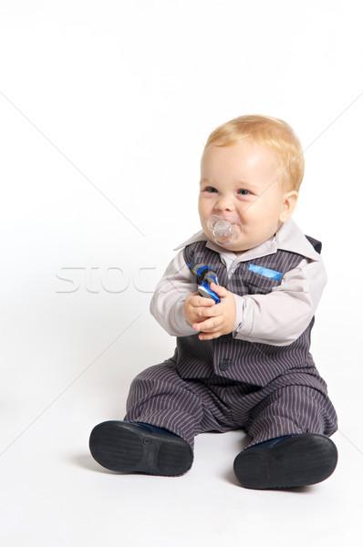 Formalny baby blond pacyfikator garnitur twarz Zdjęcia stock © tangducminh
