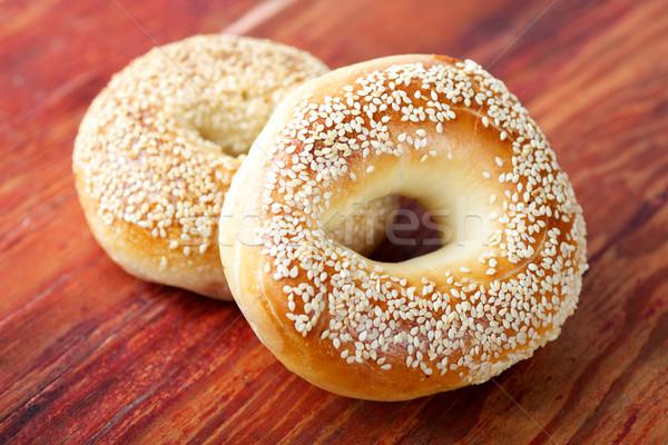 sesame bagels on wood Stock photo © tangducminh