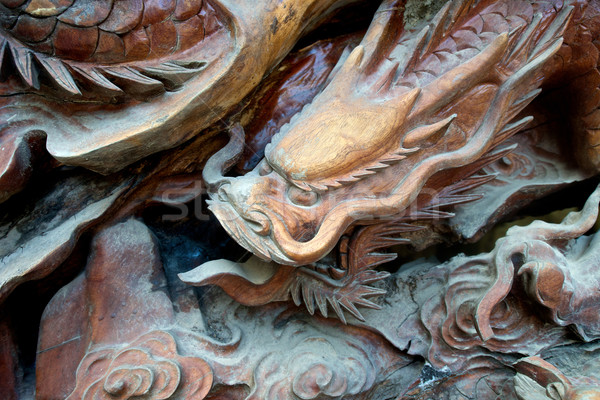 Wooden Carved Dragon Stock photo © tangducminh
