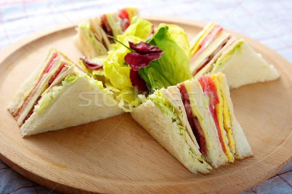 Турция трехслойный бутерброд свежие разделочная доска хлеб Сток-фото © tangducminh