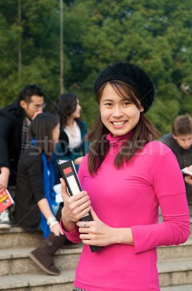 Asian étudiant campus notepad sourire jeunes Photo stock © tangducminh