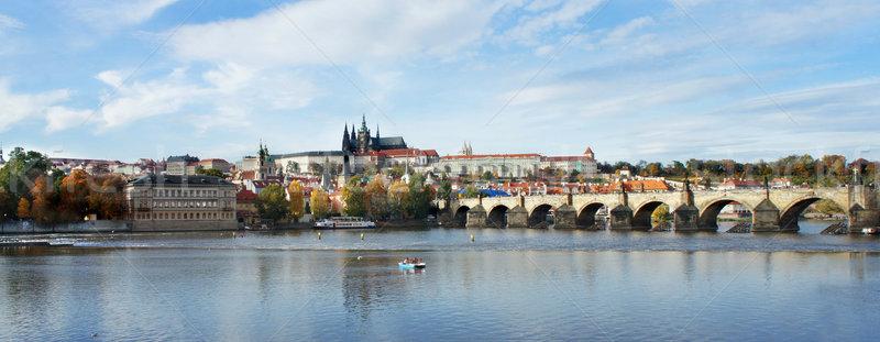 Prague château pont République tchèque belle panorama Photo stock © tannjuska