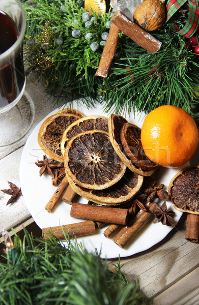 Beautiful Christmas wreath with decorations Stock photo © tannjuska