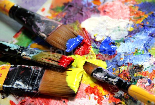 żywy pędzle tle sztuki edukacji Zdjęcia stock © tannjuska
