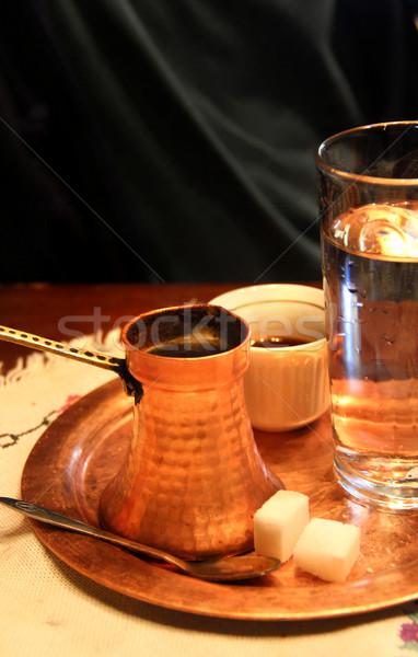 Turecki herbaty stolik tradycyjny obrus wody Zdjęcia stock © tannjuska