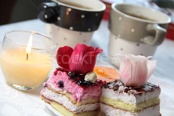 Esküvő dekoráció valentin nap étel szeretet rózsa Stock fotó © tannjuska