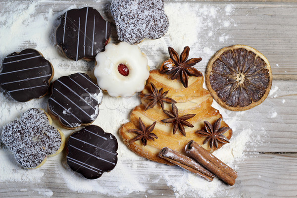 Photo stock: Noël · cookies · cannelle · table · chocolat