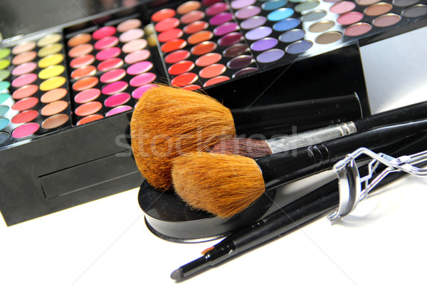 Makeup palette and brushes Stock photo © tannjuska