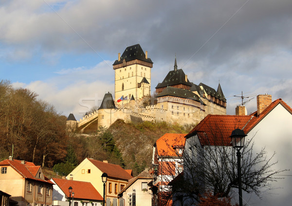 Castillo República Checa hermosa vista lluvia viaje Foto stock © tannjuska