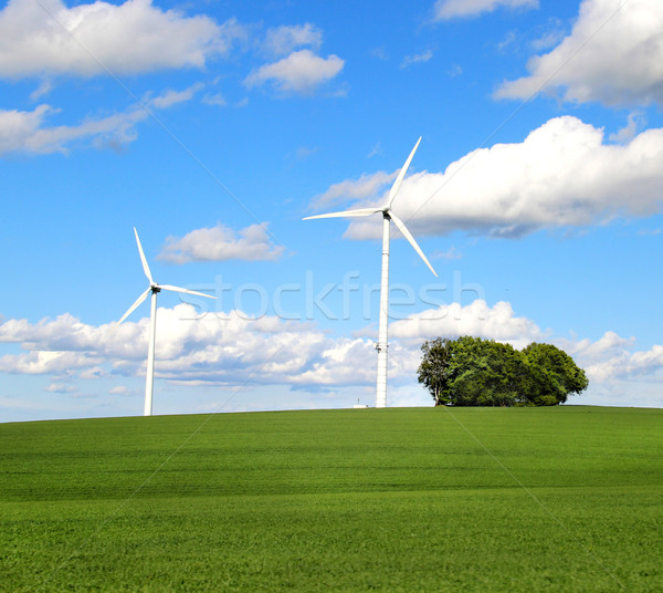 Wind turbines and cloudy blue sky Stock photo © tannjuska