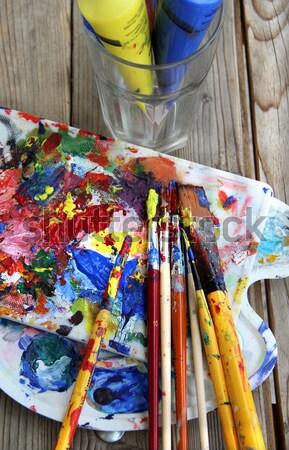 Grande establecer pinceles arte paleta pintura Foto stock © tannjuska