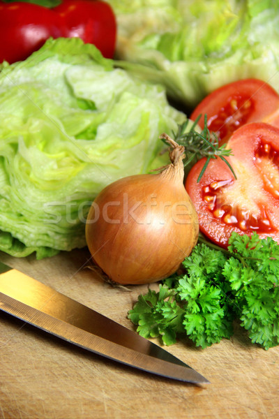 Mix of sliced ingredients for vegetable salad Stock photo © tannjuska