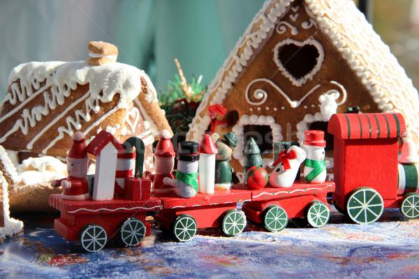 Christmas kinderen speelgoed Rood trein beer Stockfoto © tannjuska