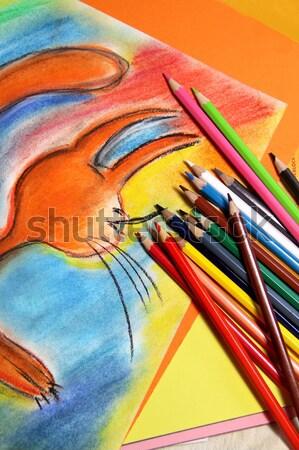 Lápices escuela diseno Foto stock © tannjuska