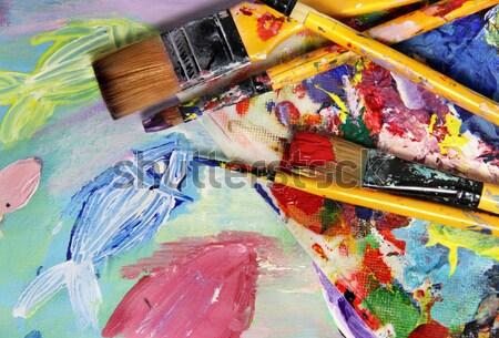 Art palette pinceaux belle Photo stock © tannjuska