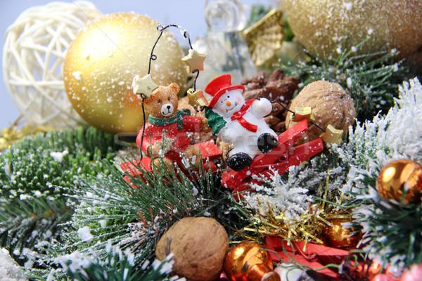 Photo stock: Belle · Noël · couronne · jouets · bonbons · ours