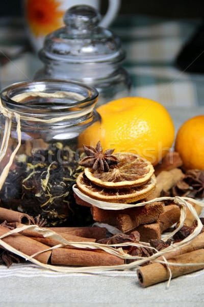 Cynamonu wyschnięcia pomarańczowy herbaty żywności drewna Zdjęcia stock © tannjuska