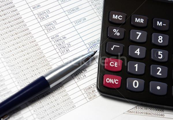 Biuro tabeli Kalkulator pióro rachunkowości dokumentu Zdjęcia stock © tannjuska