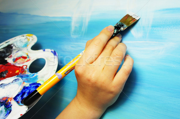 Kunstenaar textuur hand verf achtergrond boot Stockfoto © tannjuska