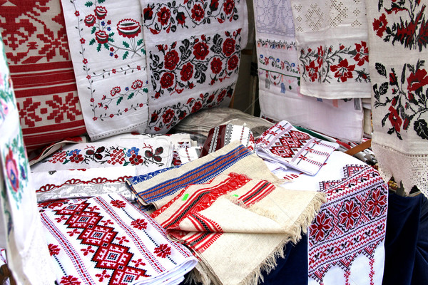 Mix of Ukrainian souvenir towels with embroidery  Stock photo © tannjuska