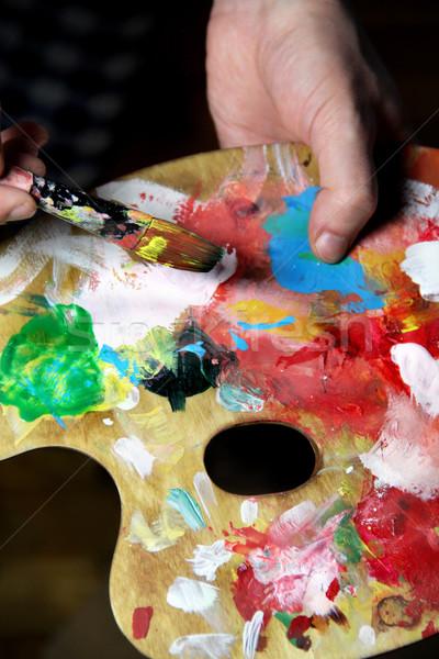 アーティスト 画像 テクスチャ 手 塗料 背景 ストックフォト © tannjuska