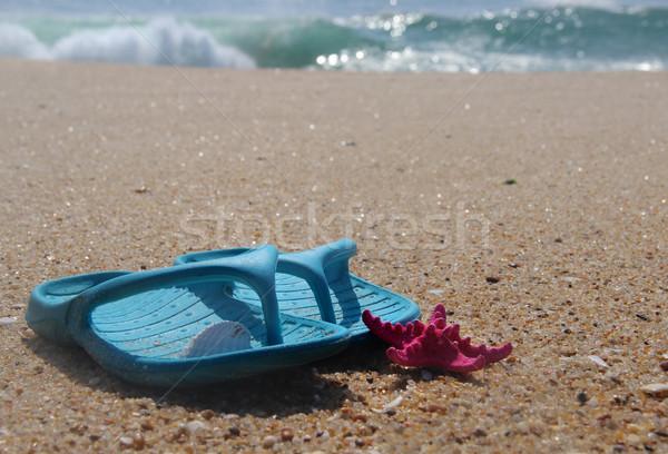 Flip-flops and pink starfish on the beach Stock photo © tannjuska