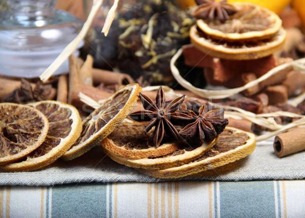 Cannelle sécher orange thé alimentaire bois Photo stock © tannjuska