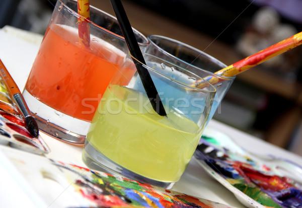 Sztuki palety wody papieru pracy streszczenie Zdjęcia stock © tannjuska