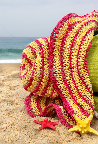 Green beach bag, pink straw hat and funny sea stars Stock photo © tannjuska