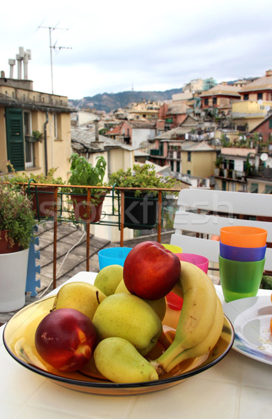 Mix of fruits and herbs on the terrace in Genova Stock photo © tannjuska