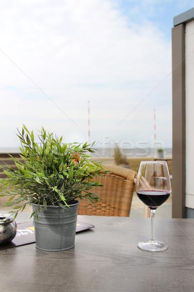 Desayuno playa almuerzo restaurante flor alimentos Foto stock © tannjuska