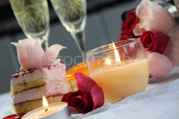 Boda decoración día de san valentín alimentos amor rosas Foto stock © tannjuska