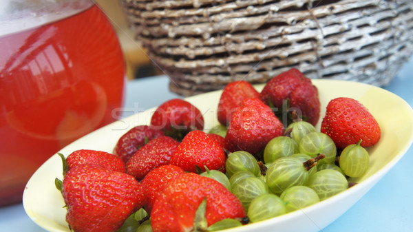Fresh juicy strawberry and gooseberry  Stock photo © tannjuska