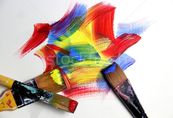 Pinceaux fond art éducation Photo stock © tannjuska