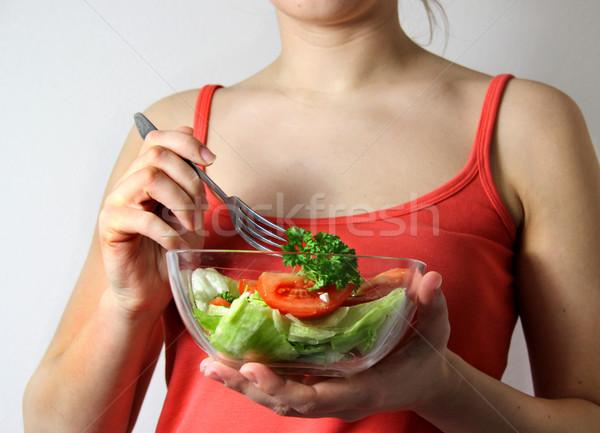 Stok fotoğraf: Genç · kadın · sebze · salata · eller · gıda · mutfak