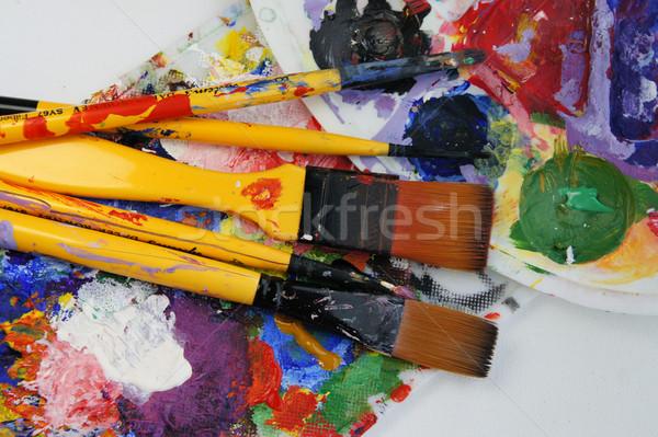 Művészet paletta víz textúra munka absztrakt Stock fotó © tannjuska