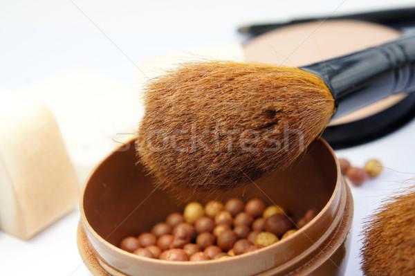 Makeup foundation, powder, bronzer and brushes Stock photo © tannjuska