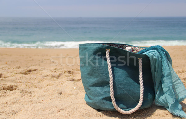 Zee zon strand Blauw stro zak Stockfoto © tannjuska