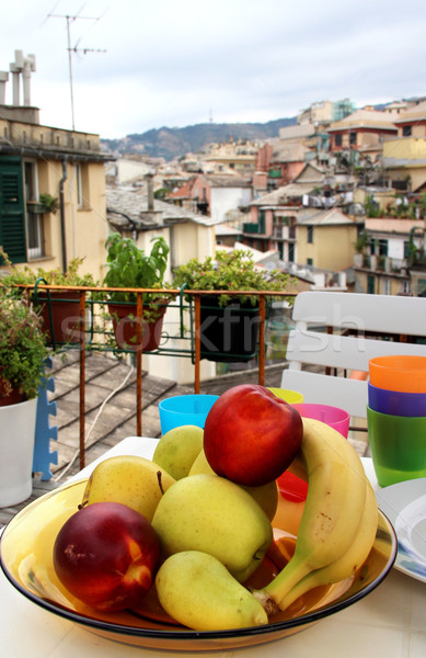 Mix of fruits and herbs on the terrace in Genova, Italy Stock photo © tannjuska