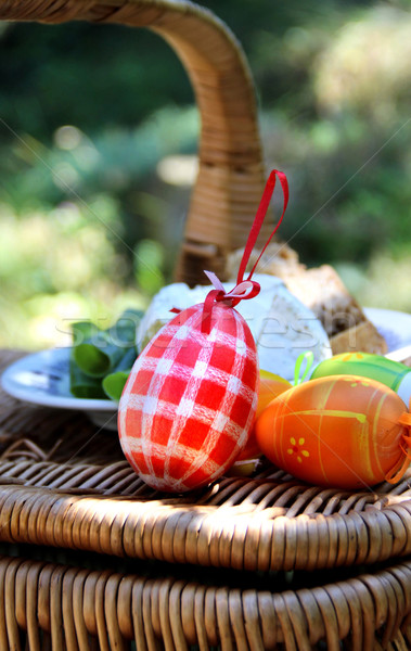 Pasen mand gekleurde eieren mooie handgemaakt Stockfoto © tannjuska