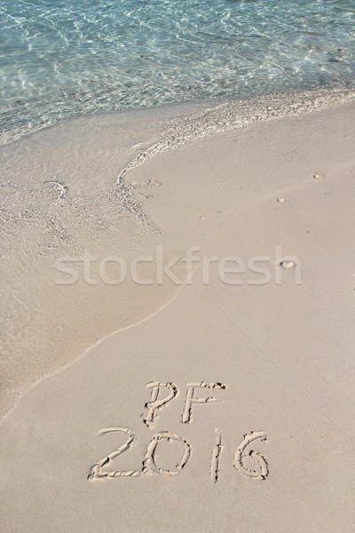 手書き 碑文 2016 ビーチ クリーン 青 ストックフォト © tannjuska