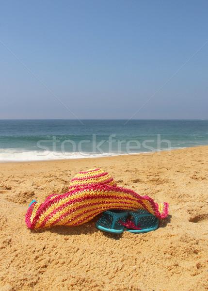 Seacoast and straw pink hat  Stock photo © tannjuska