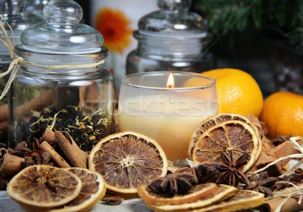 Bougie cannelle sécher orange thé alimentaire Photo stock © tannjuska