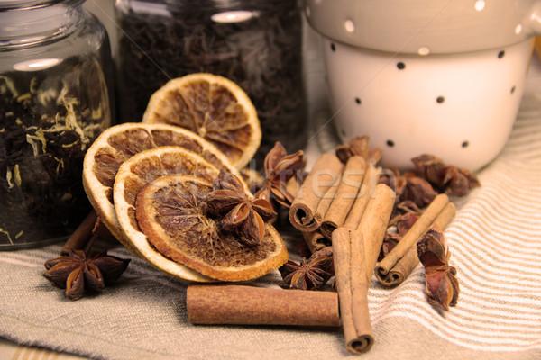 Fahéj aszalt narancsok tea száraz narancs Stock fotó © tannjuska