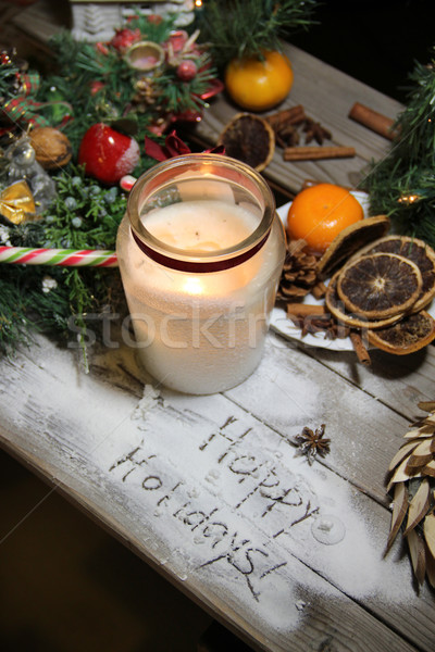 Beautiful Christmas candle and decorations Stock photo © tannjuska