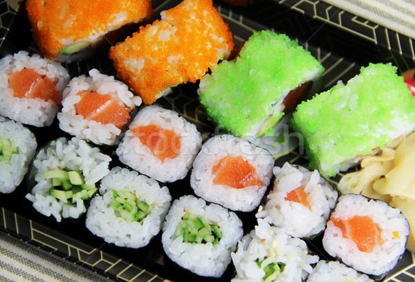 Keverék japán szusi tekercsek asztal étel Stock fotó © tannjuska
