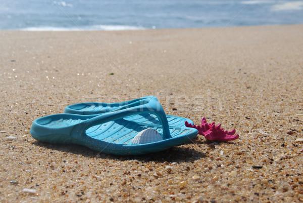 Plaży czasu niebieski buty morza moda Zdjęcia stock © tannjuska